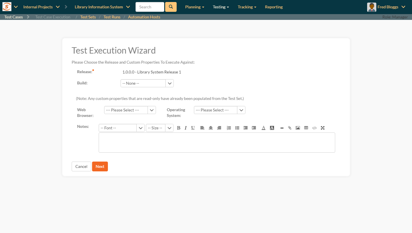 New Test Execution Wizard