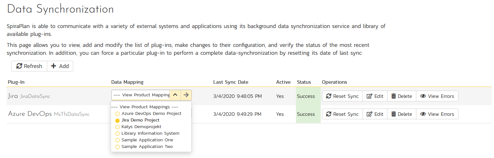 SpiraTest data synchronization service with Jira and Azure DevOps plugins active