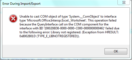 Resolving 'Unable to cast COM object' errors when using MS-O